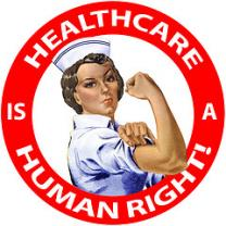 Nurse with fist raised in a red circle that says Health Care is a Human Right