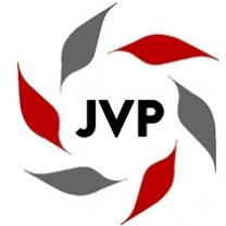 Red abd gray leaves in a circle around the letters JVP