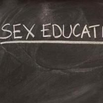 The words Sex education on a blackboard