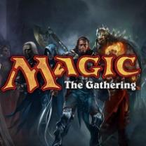 Words Magic the Gathering with characters behind it