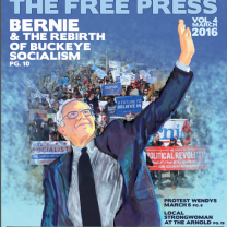 Cover of Free Press, artist rendering of Bernie Sanders, people marching in the background