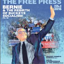 Cover of Free Press, artist rendering of Bernie Sanders, people marching in the background