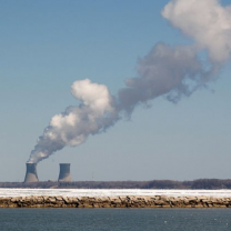 Nuclear plant with smoke spewing out