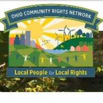 Colorful drawing of a landscape with a sun, windmills, people holding hands, some trees and the words Ohio Community Rights Network