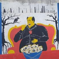 Painting of a large man in a black robe-like shirt sitting in a big red chair with gold edges against a white background with trees