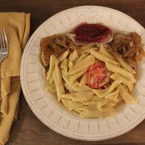 Plate of pierogis, mac and cheeze