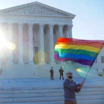 Rainbow flag waved in front of government building