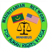 Circle logo yellow in middle green around edge words Mauritanian Network for human rights in USA and in themiddle a Mauritanian flag and US flag and scale