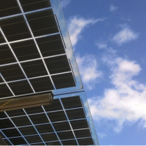 Solar panels against the blue sky