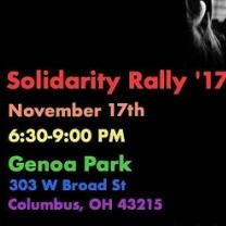 Black background and words Solidarity Rally '17 November 17th and more info about the event