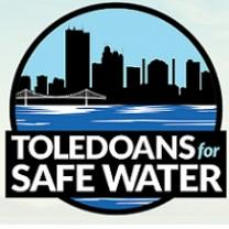 Round logo of a downtown skyline with a bridge and water in front and words Toledians for Safe Water