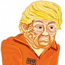 Cartoon of Trump with yellow hair and orange jumpsuit from prison
