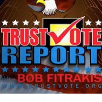 Words TrustVote report with checkmark and words Bob Fitrakis with eagle in the background