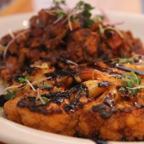 Cauliflower steak and sweet potatoes