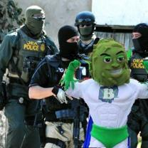 Buddy mascot with DEA agents