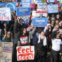 On February 27 about 900 Bernie Sanders supporters gathered for a rally at the Wexner Center Plaza on the OSU campus and marched to Goodale Park.
