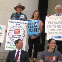 Before an  April 20 Climate Lobby Day organized by Ohio Interfaith Power and Light, faith communities gathered for a rally on the Statehouse steps to call for an end to the freeze on Ohio's green energy standards.