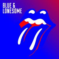 Blue version of Rolling Stones logo with words blue and lonesome