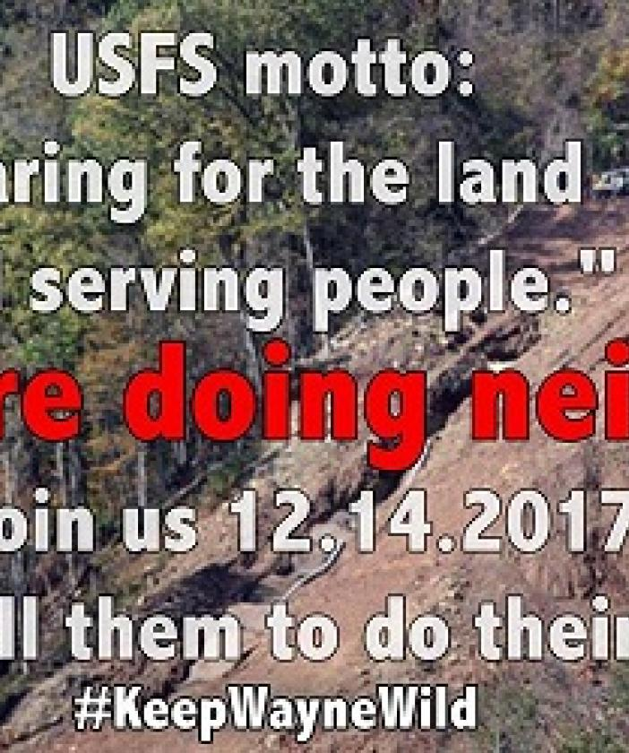 "Words USFS motto: Caring for the land and serving people"" They are doing neither join us 12-14-2017 and tell them to do their job. #Keep Wayne Wild against a background of trees and a cliff"