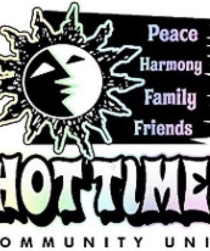 Hot Times logo with a sun and the words Peace Harmony Family Friends