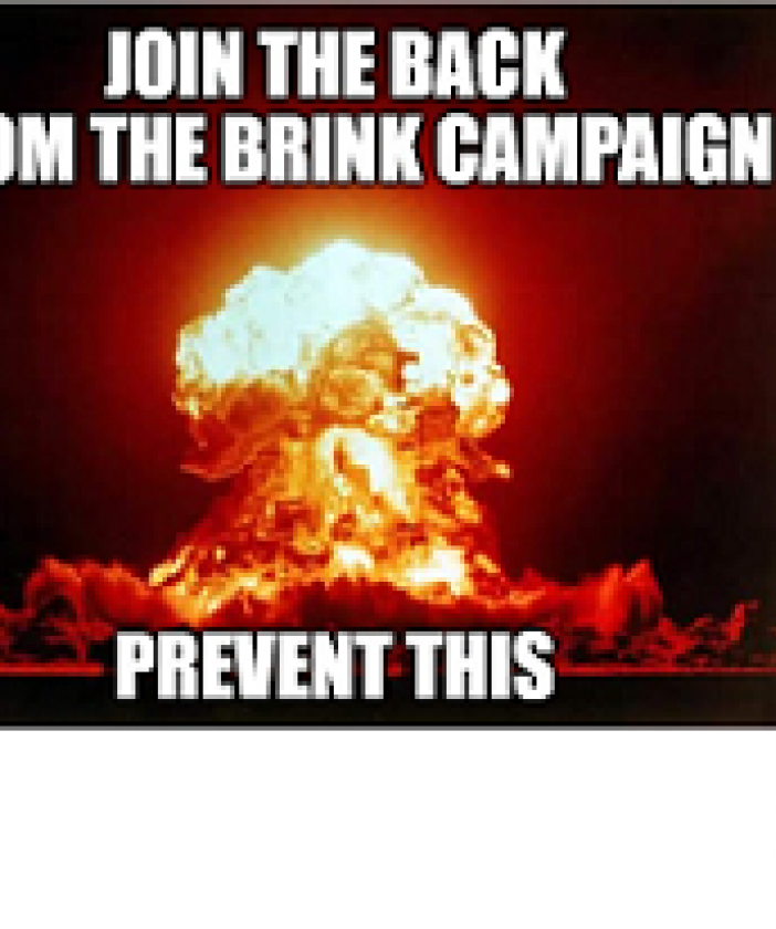 Big orange and white explosion in the middle making a mushroom cloud and words Join the Back from the Brink Campaign Prevent this