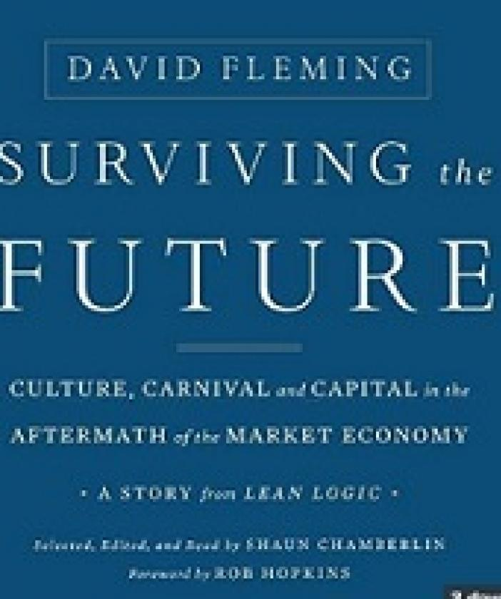 Blue book cover with words Surviving the Future