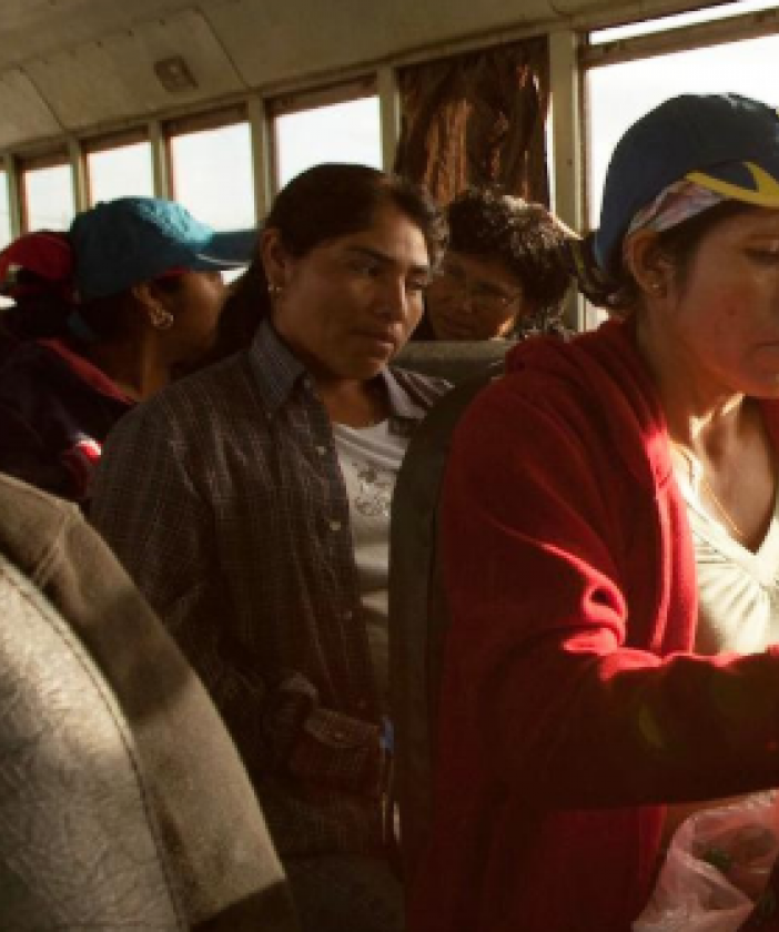 Farmworkers on a bus