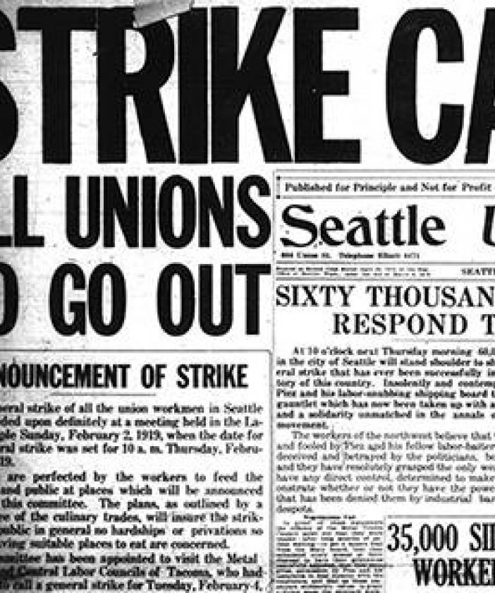 Newspapers with headlines about strikes