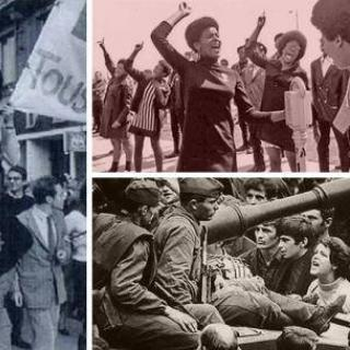 One sepia photo of black women shouting with fists in the air above a black and white photo of me surrounding what looks like a tank