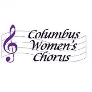 Logo with musical symbol and words Columbus Women's Chorus