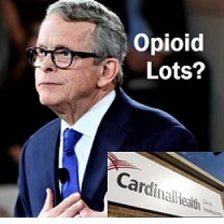 Older white man with gray hair and black rimmed glasses in a suit looking to the left and an insert at bottom right of a Cardinal Health building and the words Opioid Lots?