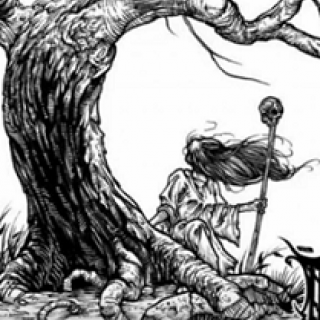 Black and white pen and ink drawing of a little girl with long hair blowing straight out in the wind with a scepter in one hand next to a curvy large trunked tree