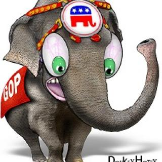 Cartoon of an elephant with a GOP banner on his side looking wide eyed and upset