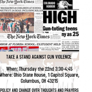Two clips out of newspapers one with a photo of lots of kids running away from the school where the shooter was, the other talking about gun-toting teens and all the words about this event