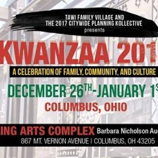 The words Kwanzaa 2017, December 26th - January 1 Columbus Ohio