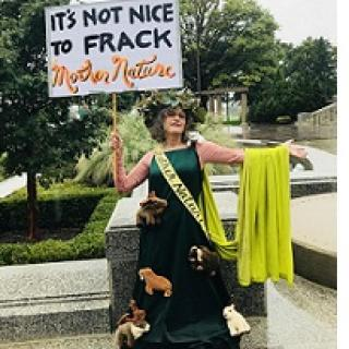 Woman in a long green dress with a sash and a cape and crown of flowers with a sign saying It's not nice to frack mother nature