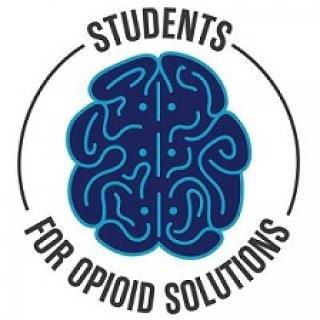 Circle with words Students for Opioid Solutions and a blue cartoon of a brain in the middle