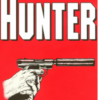 Red background, white words HUNTER at top and below a drawing of hands holding a sharpshooter type of gun
