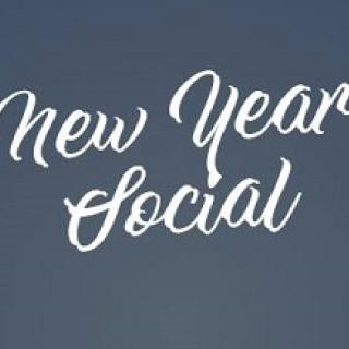 Gray background with white letters is cursive writing New Year Social