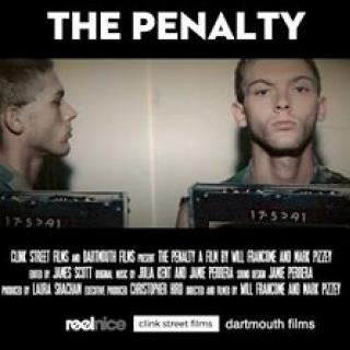 Black background with white words The Penalty and a mug shot of a white man front and side view, short hair, not looking happy