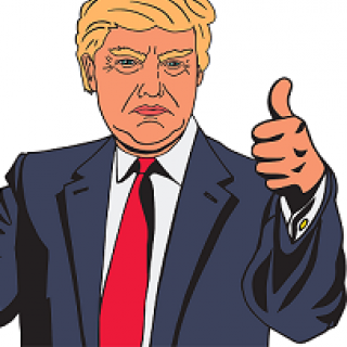 Cartoon of older man with fluffy yellow hair and a blue suit with red tie holding his thumb up, but the look on his face is a big frown