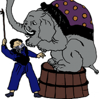 Cartoon of elephant performing at a circus