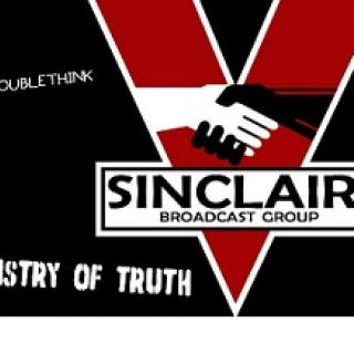 Black background with Red V and a black and white hand shaking with words Sinclair Broadcast Group