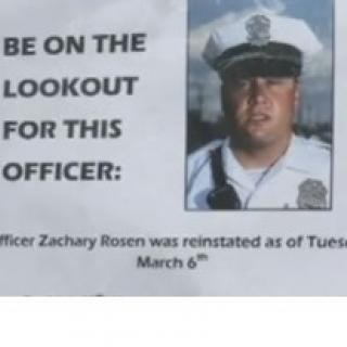The photo of a white man in a big white police hate with black brim and badge on it scowling on his face and a cop uniform with the words a the left saying Be on the lookout for this officer