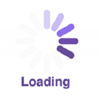 The word loading in purple at the bottom and lines going around in a circle on the right side