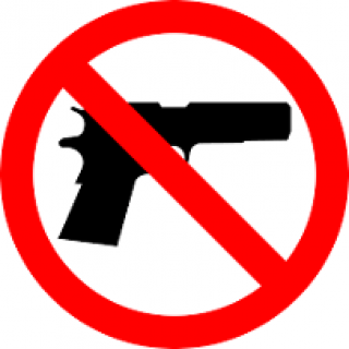 "Black silhouette drawing of a gun with a red circle around it with a line through it signifying ""no"""