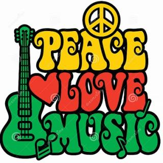 A peace sign anad guitar with the words Peace Love Music and a heart