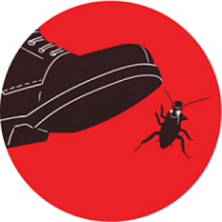 Red circle in background, black shoe drawing coming down on top of a cockroach