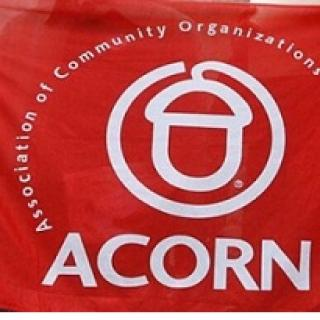Red banner with acorn logo and words ACORN Association of Community Organizations