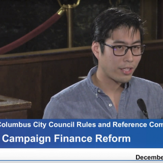 Andrew Lin of Socialist Alternative speaks to Columbus City Council on December 4.